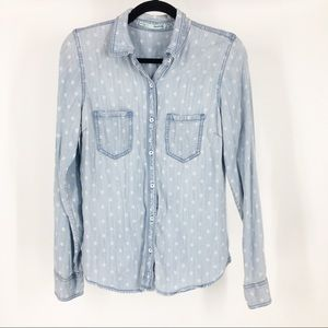 ✨maurices blue jean chambray snap up shirt top med